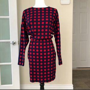 New Zara navy & red polka dot dress dolman sleeve